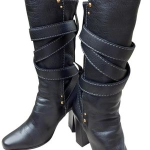 Chloé Black Leather Boots Italy 36.5
